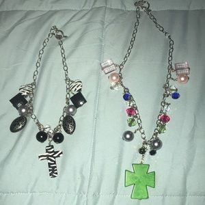 2 necklaces with removable charms